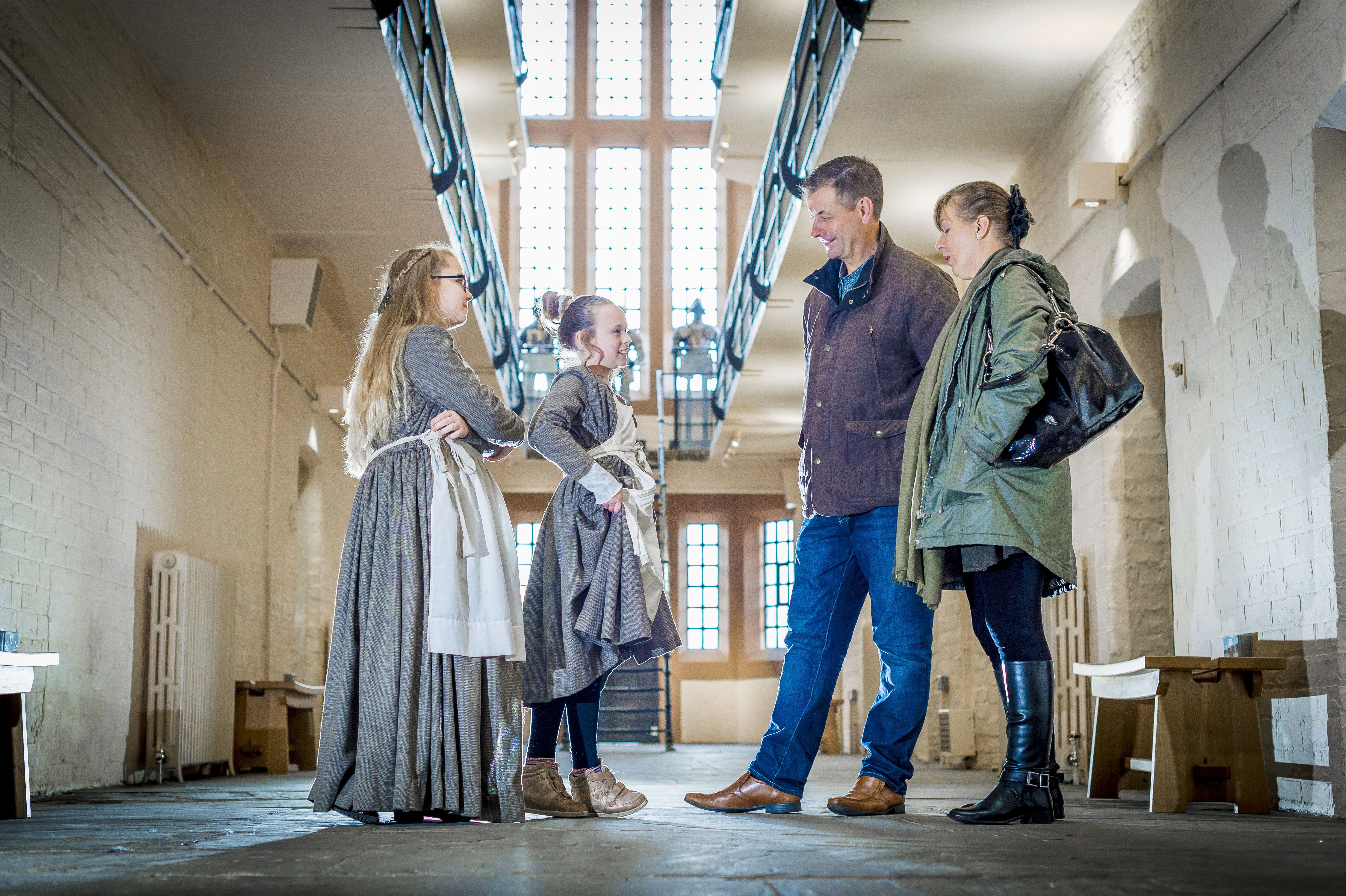 Two kids, two adults at Lincoln Castle