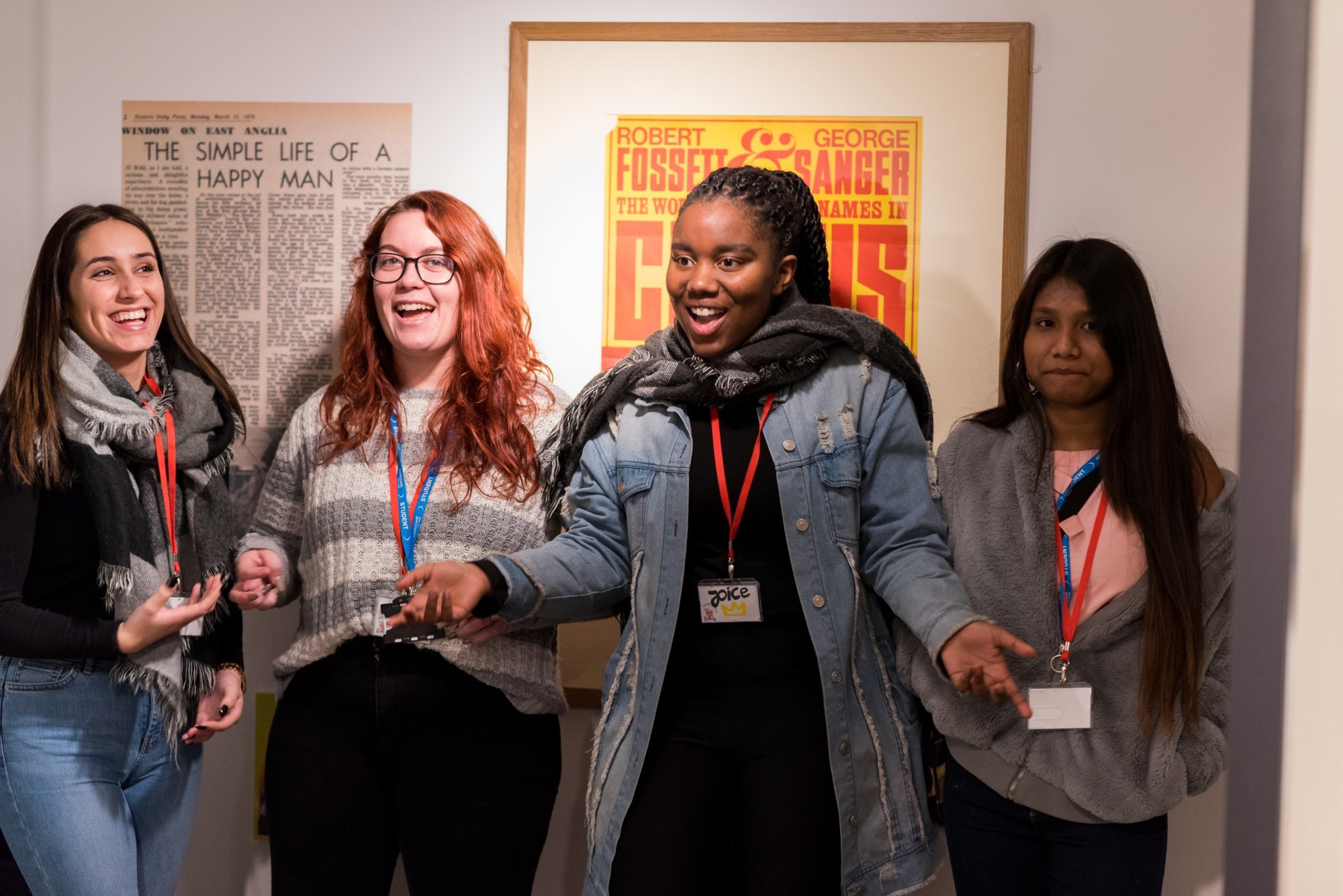 Four young women laughing during their Takeover Day at Time and Tide Museum.