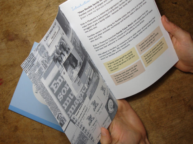 Close up of someone holding the Flexible Family Ticket guidelines booklet.