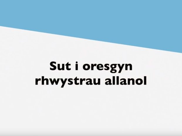 A still from the film showing a slide that says 'how to overcome external barriers' in Welsh.