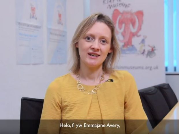 A still from the film showing Emmajane Avery, Kids in Museums Chair, speaking to camera about Takeover Day.