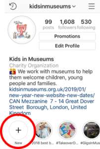 A screenshot of the Kids in Museums Instagram profile with a red circle over the Add Highlight button.