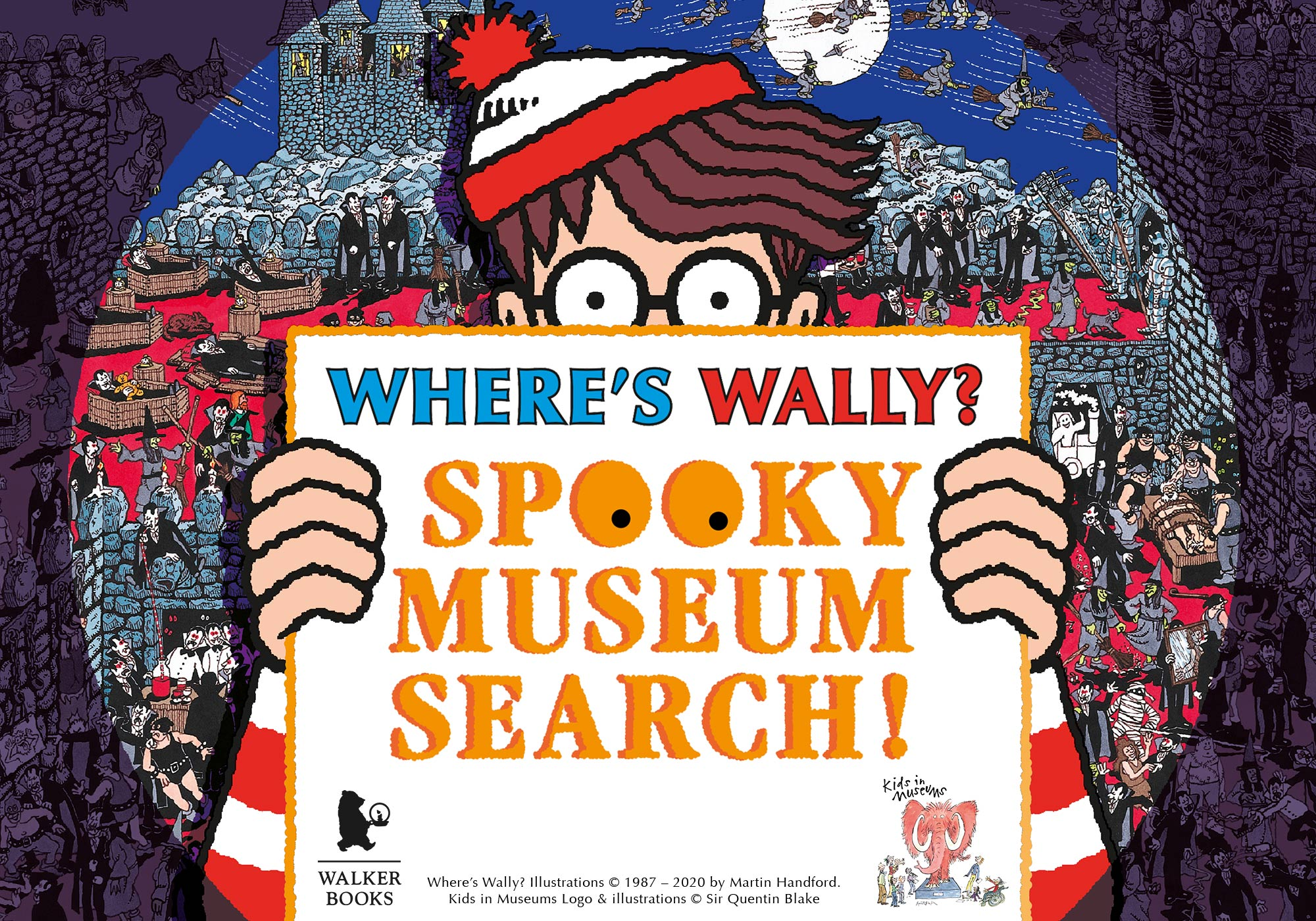 A cartoon Wally holds up a sign reading 'Where's Wally? Spooky Museum Search' highlighted by a spotlight.